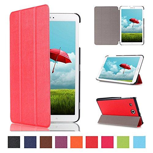 Kepuch Custer Cover per Samsung Galaxy Tab E 9.6 T560 T561 T565 T567V,PU-Pelle Case Custodia per Samsung Galaxy Tab E 9.6 T560 T561 T565 T567V - Rosso