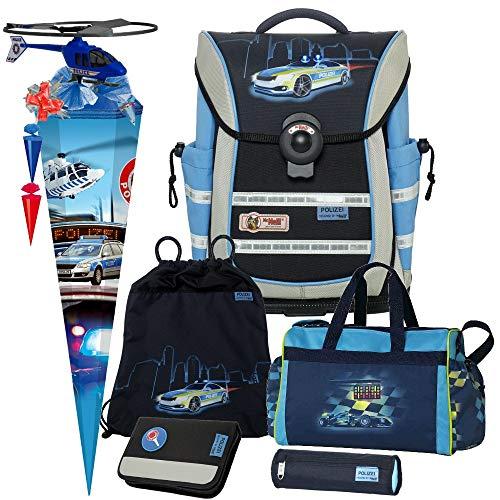 Polizei - Police - McNeill Ergo Light Pure mit Blinklicht Schulranzen-Set 7tlg. mit Sporttasche, SCHULTÜTE und SCHULTÜTENSCHMUCK-Set