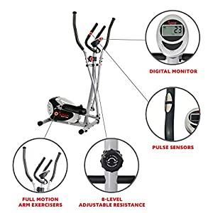 Magnetic Elliptical Machine Trainer by Sunny Health & Fitness with LCD Monitor, 220 LB Max Weight, 8 Level Resistance and Pulse Monitor - SF-E905