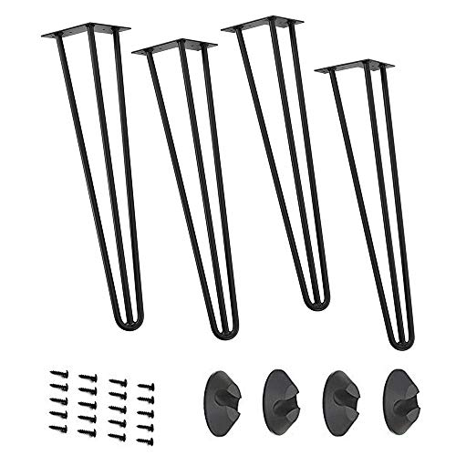 Wifond Set of 4 24' Black Metal Heavy Duty Hairpin Legs, 3/8' Solid Bar, Triple Weld Steel Construction, Industrial Modern Design, for Home Improvement DIY Coffee Table TV Stand Sofa Side Table