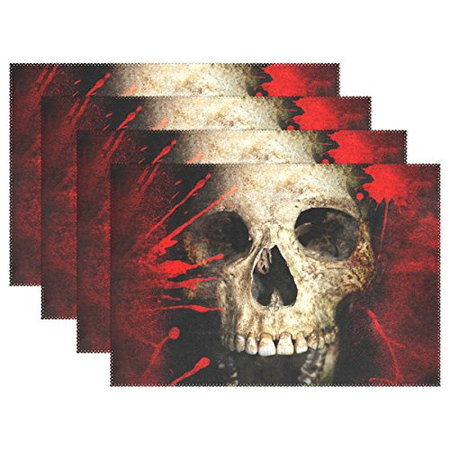 Naanle Skull Placemats Set of 4 Sugar Skull Heat-Resistant Washable Table Place Mats for Kitchen Dining Table Decoration