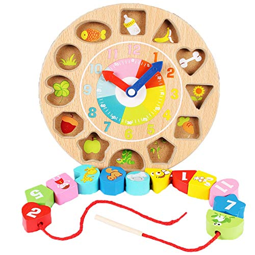 Fantastic Prices! Blocks Large Lacing Bead Set Educational Stringing Toy-Wooden Shape Color Sorting ...