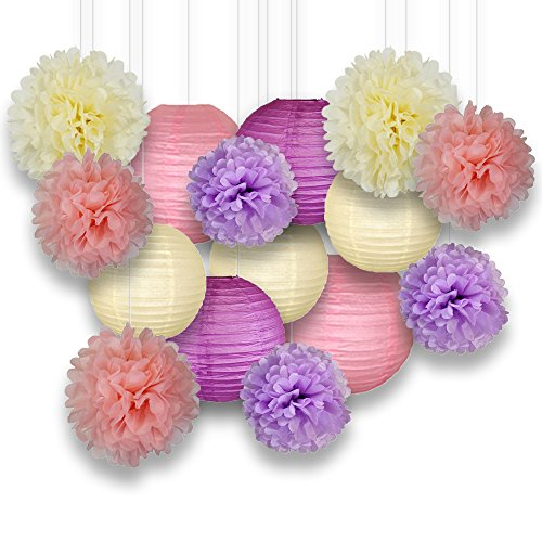 Just Artifacts Decorative Paper Party Pack (15pcs) Paper Lanterns and Pom Pom Balls - Ivory/Pinks/Purple - Paper Lanterns and Décor for Birthday Parties, Baby Showers, Weddings and Life Celebrations!