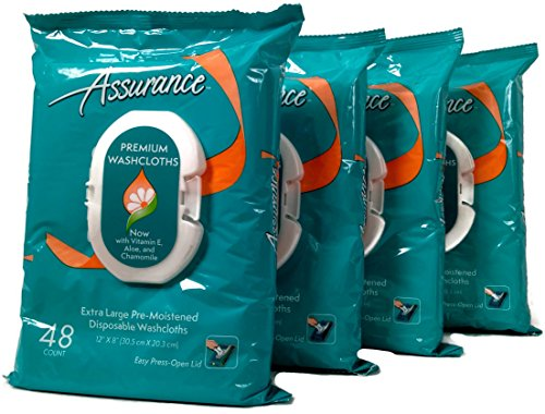 Assurance Premium Pre-moistened Disposable Washcloths, Extra Large, 48ct, Multipack of 4 (192 Wipes Total)