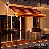 [page_title]-Swing & Harmonie LED - Markise mit Kurbel Klemmmarkise Balkonmarkise mit Beleuchtung und Solarmodul Fallarm Markise Sonnenschutz Terrasse Balkon (250x150, schwarz/orange)