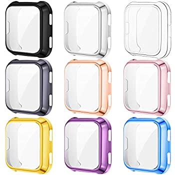 KIMILAR [9-Pack] Screen Protector Case Cover Compatible with Fitbit Versa All-Around Screen Protective Case Bumper Cover Saver Soft TPU Plated Case Compatible with Versa Smartwatch