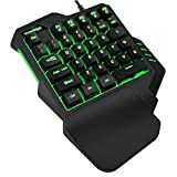 TESHIUCK One Handed Gaming Keyboard, RGB Led Backlit USB Wired Mini Gaming keypad,with 35 Keyboards Portable Gamer Small Gameboard for Esports FPS