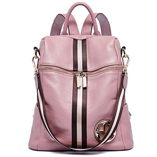 BOSTANTEN Women's Leather Backpack Handbags Students Casual School Backpack Ladies Fashion Daypacks Pink
