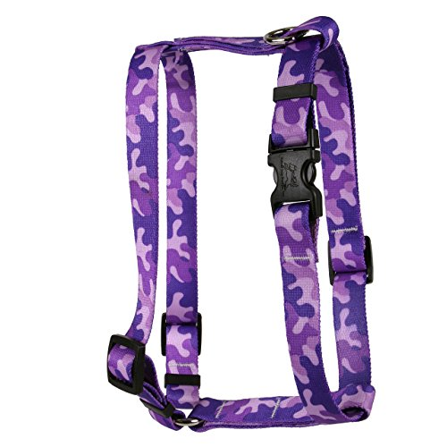 Yellow Dog Design Camo Purple Roman Style H Dog Harness, Small/Medium