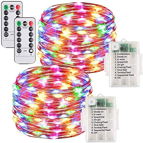 MONTA 2 Unidades 10 m 100 Led impermeable cobre cadena luz Control remoto batería Garland luces hadas para Navidad Año Nuevo Decoración