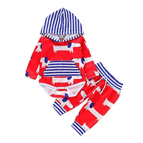 wuayi Ensembles Bébé Garçon Chien de Dessin animé Manche Longue Barboteuse + Pantalon Sweat-Shirt Vêtements Enfant Baby Boys Outfits Set
