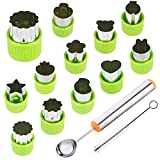 TIMGOU 12 Pcs Vegetable Fruit Cutter Shapes Set with Melon Baller Scoop and Cleaning Brush, Fruit and Mini Cookie Stamps Mold for Kids Crafts Baking Decorating Food-Green