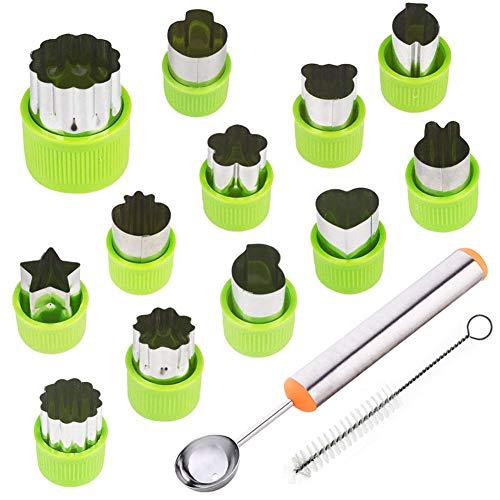 TIMGOU 12 Pcs Vegetable Fruit Cutter Shapes Set with Melon Baller Scoop and Cleaning Brush, Mini Pie Cookie Stamps Mold for Kids Crafts Baking and Food Supplement Tools for Kitchen-Green