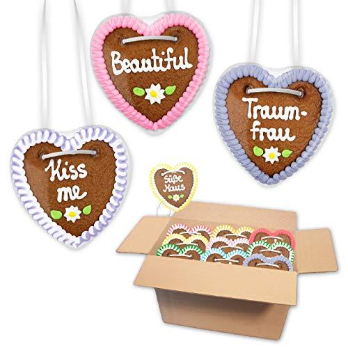 20x Premium - Lebkuchenherz im Mischkarton - 10cm - versch. Frauen Sprüche |saftigte Lebkuchenherzen frisch gebacken | Oktoberfest Herzen aus Lebkuchen | Lebkuchenherz bestellen von LEBKUCHEN WELT