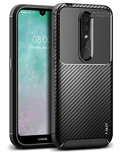 JundD Kompatibel für Nokia 4.2 Hülle, [Carbon Fiber Pattern] [Leichtgewichtig] [Fallschutz] Stoßfest TPU Slim & Anti-Kratzer Weich Hülle für Nokia 4.2 - [Nicht für Nokia 3.2] - Schwarz