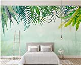 Papier Peint Panoramique paysage 3D papier peinture Tapisserie Intissé photo murales poster geant Décoration murale 350cmx245cm fond de cactus de style aquarelle feuille verte