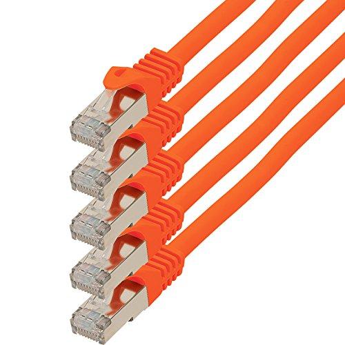 1aTTack.de netwerkkabel ethernetkabel lange kabel Cat.7 S-FTP PIMF compatibel met Cat.5 / Cat.6 | 10Gb/s | voor switch, router, modem, patchpannel, Access Point, patchvelden 0,25m oranje - 5 stuks