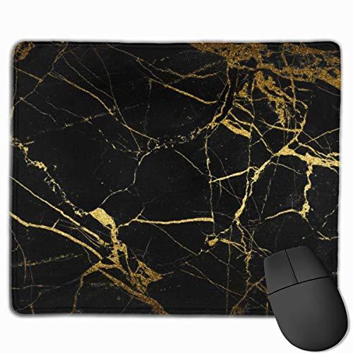 Schwarz-Gold Marmorfliesen Mauspad mit rutschfester Gummibasis und wasserdichtem Mauspad mit genähten Kanten Mauspads für Computer Laptop Gaming Office & Home