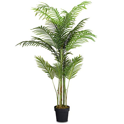 COSTWAY Palmera Artificial Altura 150cm Planta Árbol Artificial para Oficina Hogar Decoración Interior