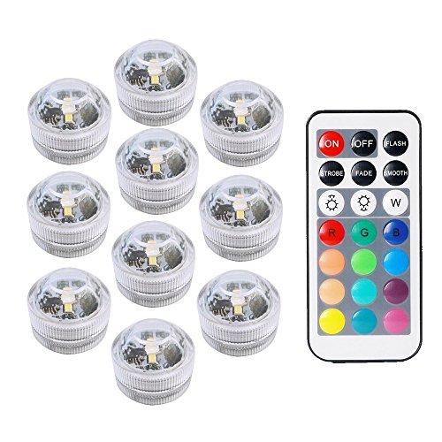 COOLEAD 10Pcs RGB LED Luz Sumergible Control Remoto Bajo el Agua Lámpara...