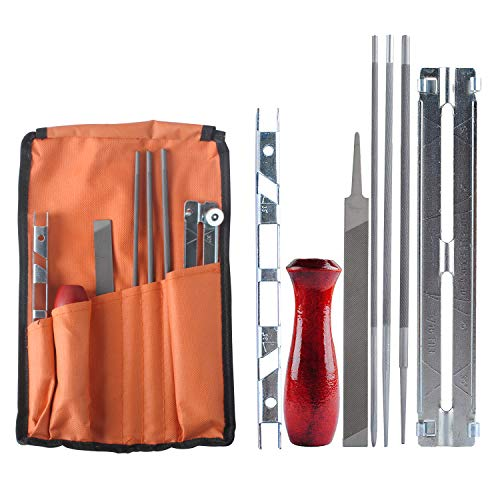 Chainsaw Sharpener File Kit for Sharpening Filing Chainsaws & Other Blades - Include 5/32 3/16 & 7/32 Inch Files, Wood Handle, Depth Gauge, Filing Guide & Tool Pouch