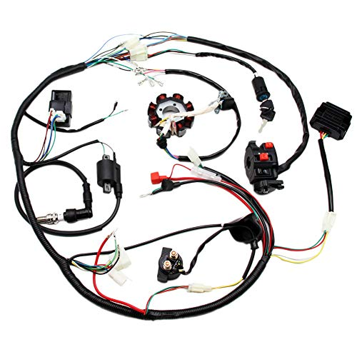 Full Electric Wiring Harness Wire Loom CDI Coil Stator Assembly For ATV Quad Bike Buggy Go Kart 150cc 200cc 250cc 300cc