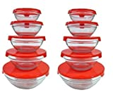 Imperial 10 Pcs Glass Nested Dipping or Storage Bowls with Red Lids - 2 Pack