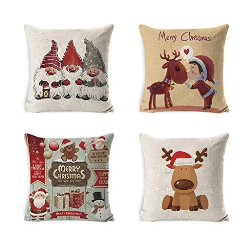 DIAOD 4pcs Christmas Decorations Throw Pillow Covers Linen Elf Santa Printed Winter Pillow Cases Cushion Covers Farmhouse Decor