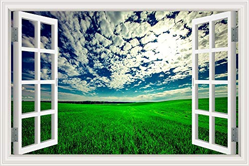 3D Window View Landscape Nature Scenery Blue Sky Clouds Sunrise Green Wheat Field Wall Sticker PVC Art Decal Living Room Bedroom Home Decor Mural