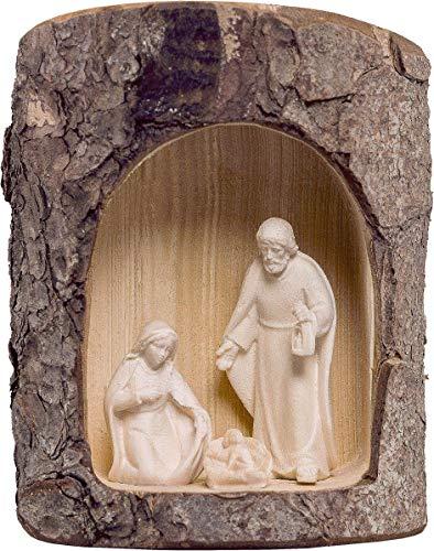 Portal de Belén con Figuras del Nacimiento de 5 cm, de Madera Natural - Pesebre Artis Demetz Deur