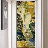 Imagen de arte de pared moderno para dormitorio Artista clásico Gustav Klimt Golden Kiss Pintura al óleo abstracta Impresiones en lienzo Carteles 40x80cm (16x32in) Con marco