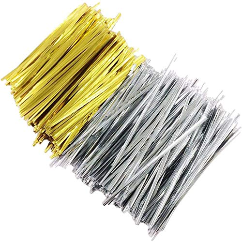 Youery 2 Packungen Insgesamt 2000 Stück Twist Ties,Twist Ties for Bindestreifen,Metallischen Bindebaender Tütenclips Verschluss für Gefrierbeutel(Silber und Gold)