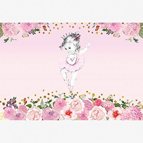 OERJU 8x6ft Ballerina Backdrop Pink Floral Ballet Baby Shower Background for Photography Birthday Party Decor Banner Girls Baby Newborn Photo Wallpaper