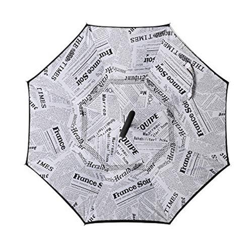 BDWS Paraguas Paraguas Largo Plegable con Doble Varilla, Paraguas Invertido Doble Capa, Cortaviento Y con Gancho Inverso para Golf, para Coche14
