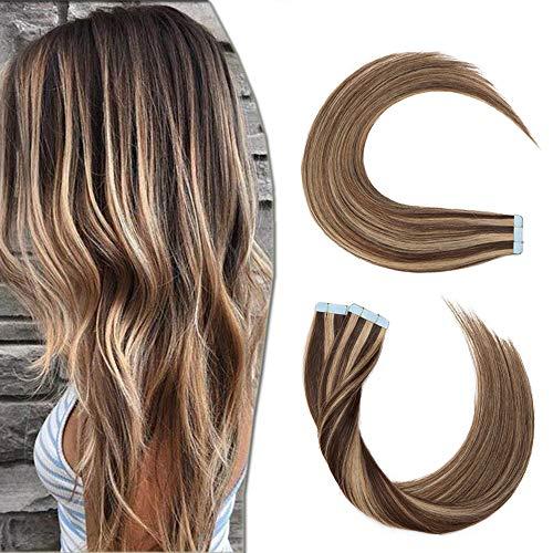 40 Pcs Extension Adhesive Naturel #4+27 MARRON CHOCOLAT MECHE BLOND FONCE - Rajout Vrai Cheveux Humain Bande Adhesive Type Fin - 40CM (1.5g*40pcs)