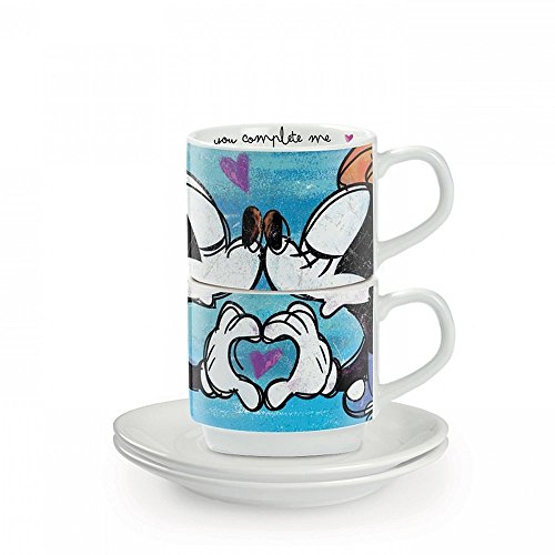 Egan PWM02I/B Set Tazze Caffe, Modello Sweet Love, Porcellana, Blu, 2 unità