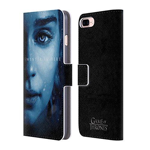 Head Case Designs Oficial HBO Game of Thrones Daenerys Targaryen El Invierno está aquí Carcasa de Cuero Tipo Libro Compatible con Apple iPhone 7 Plus/iPhone 8 Plus