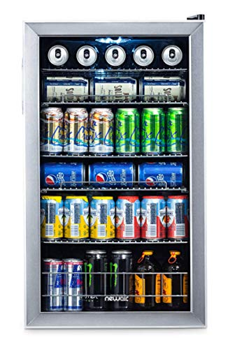 NewAir Beverage Cooler and Refrigerator, Mini Fridge with Glass Door, Perfect for Soda Beer or Wine, 126-Can Capacity, AB-1200, Stainless Steel (Renewed)
