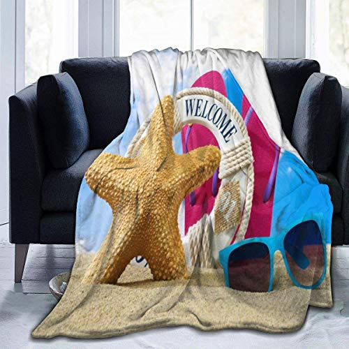 Manta de franela para playa, gafas de sol de mar, ligera, acogedora, manta suave para sofá, adecuada para todas las estaciones de 60 x 80 pulgadas, para niños, mujeres y hombres