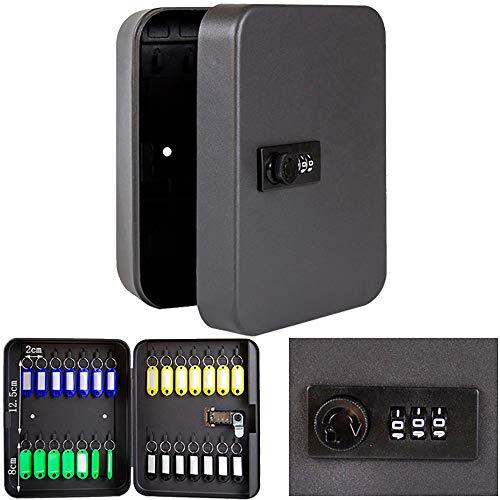 TopHGC Gabinete de 28 Llaves, Caja de Cerradura de Seguridad de Acero Resistente con Cerradura de combinación Organizador de Llave montado en la Pared 25 * 20 * 7.5 cm (Clave no incluida)