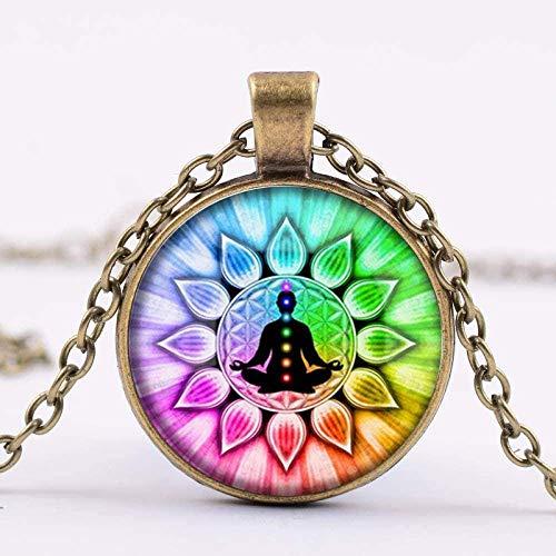 Zaaqio Colorido Collar de Yoga Mandala Lotus Om Zen Budismo Redondo Po Collar joyería de Estilo Indio