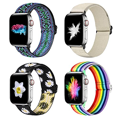 YCHDDER Nylon Elastic Watch Band Compatible with Apple Watch 38mm 40mm, Adjustable Solo Loop Wristband Strap Compatible with iWatch Series 6/5/4/3/2 / 1SE(Portia Blue+Sunflower+Rainbow+Light white)
