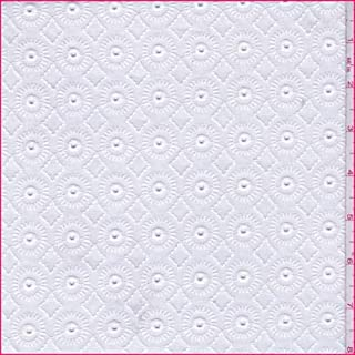 White Medallion Embroidered Eyelet Cotton Batiste, Fabric by The Yard