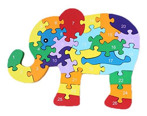 Bigood Puzzle Jouet Enfant Bébé en Bois Alphabet Chiffre Cognition Eléphant Eveil