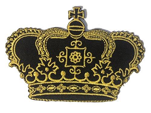 Gold Prinzessin Königin Krone Lovely Patch ''8,3 x 7,3 cm'' - Aufnäher Aufbügler Applikation Applique Bügelbilder Flicken Embroidered Iron on Patches