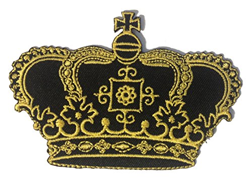 Gold Prinzessin Königin Krone Lovely Patch ''8,3 x 7,3 cm'' - Aufnäher Aufbügler Applikation Applique Bügelbilder Flicken Embroidered Iron on Patches