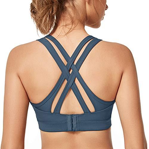 Yvette Sport BH Starker Halt Gepolstert Gekreuzt Rücken Große Brüste Lauf Fitness Yoga Bra, Grau, XL Große Größen
