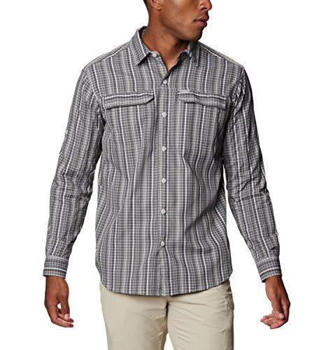 Columbia Men's Silver Ridge 2.0 Plaid Long Sleeve Shirt, Moisture Wicking, Sun Protection, Nimbus Grey Multi Grid, XX-Large
