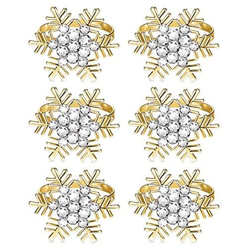 OVBBESS Servilleteros, servilleteros de copo de nieve, servilletas de mesa redondas, hebillas de serviette para decoración de boda