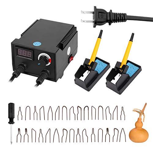 Walory Máquina de pirograbado de de Calabaza eléctrica Multifuncional con Pantalla Digital de 100 W con Cabezales de bolígrafo Calefactor de 30 Piezas